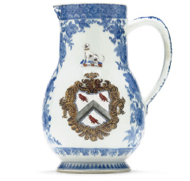 A BLUE AND WHITE ARMORIAL JUG