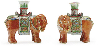 A PAIR OF ELEPHANT CANDLEHOLDE