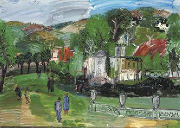 Paysage avec l'église du Béqui