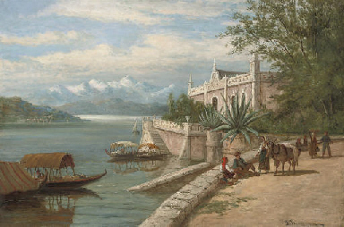 Travellers resting before lake