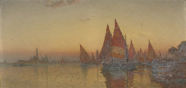 Vessels before Venice at dusk