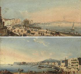 The promenade at Naples, Vesuv