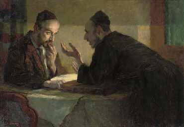 Studying the Talmud by lamplig