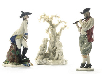 TWO NYMPHENBURG FIGURES AND A