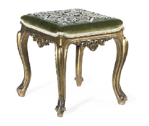 A VICTORIAN GILTWOOD STOOL