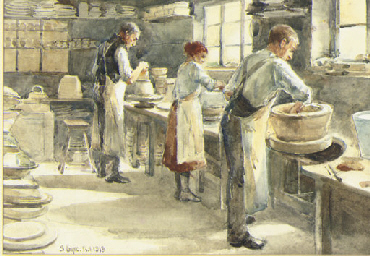 Three Potters at their wheels;