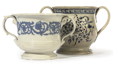 A PEARLWARE TWO-HANDLED LOVING