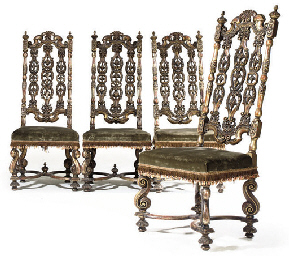 A SET OF FOUR GILTWOOD HALL CH