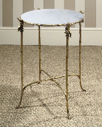 A FRENCH ORMOLU AND WHITE MARB