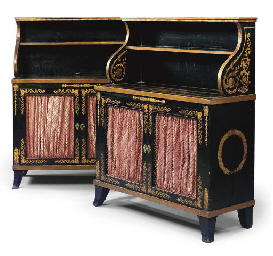 A PAIR OF REGENCY EBONISED AND