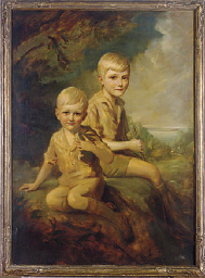 Portrait of two young boys sea