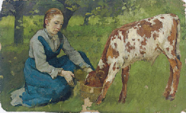 Woman with Calf