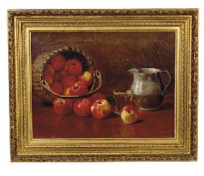 Still life of a basket of appl