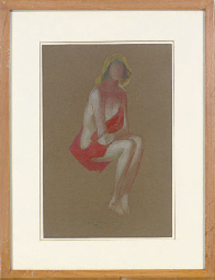 Woman posing in a red blanket