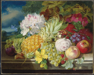Still life with fruit and flow