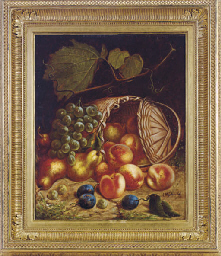 Still life with peaches, plums