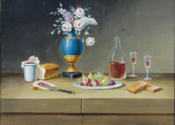 Still life with flowers, fruit