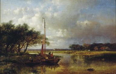River landscape with a sailing