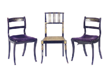 A PAIR OF REGENCY BRASS INLAID ROSEWOOD SIDE CHAIRS