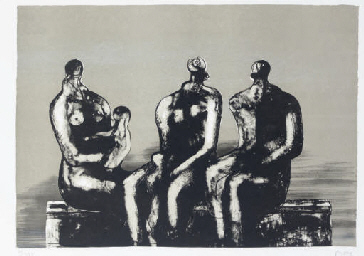 Three Seated Figures with Chil