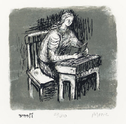 Girl Seated at Desk V; and Sea