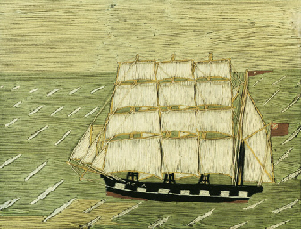 A 19th sailor's wool work pict