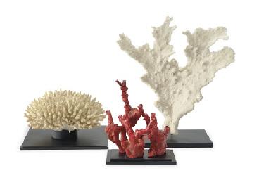 A set of three decorative cora