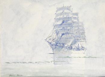 A clipper ship in calm waters
