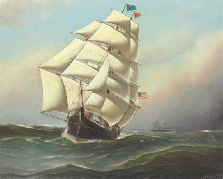 An American clipper ship at se