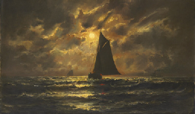 Fishing boats at moonlight