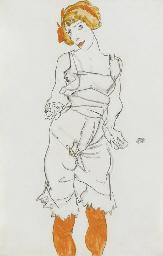 Frau in Unterwäsche und Strümp