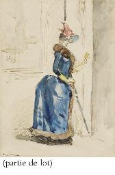 Une élégante au chapeau tenant