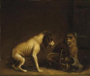 Deux chiens avec un panier ; U