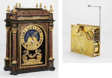 religieuse d'une rare louis xiv boullework, ébène et bronze doré Pendule astronomique remarquable et
