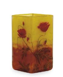 A FRENCH ENAMELED CAMEO GLASS POPPY VASE