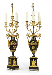 A PAIR OF CHARLES X BRONZE AND
