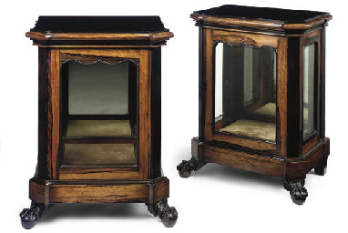 A PAIR OF ENGLISH EBONY AND CA