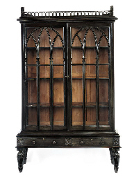 AN ANGLO-INDIAN EBONY BOOKCASE