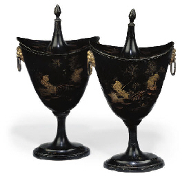 A PAIR OF REGENCY TÔLE-PEINTE