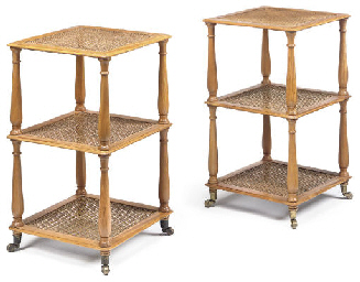 A PAIR OF SATINWOOD THREE-TIER