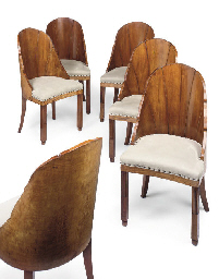 A SET OF SIX ART DECO WALNUT A