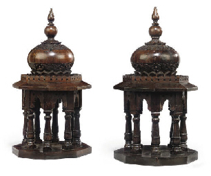 A PAIR OF INDIAN TEAK TEMPLE M