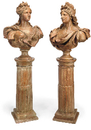 A PAIR OF ITALIAN TERRACOTTA B