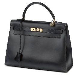 HERMÈS, A NAVY BLUE BOX LEATHE
