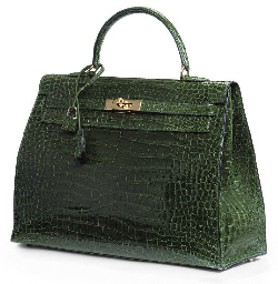 A FOREST GREEN CROCODILE KELLY