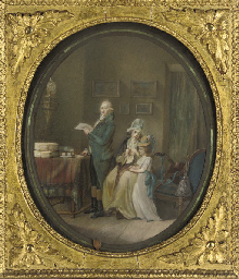 A family in an interior, waiti