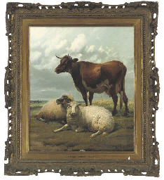 Cow and sheep in a landscape