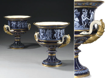 A PAIR OF MEISSEN COBALT-BLUE-