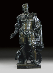 A BELGIAN BRONZE FIGURE OF RUB