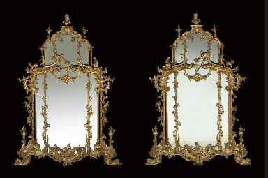 A PAIR OF LARGE GILTWOOD MIRRO